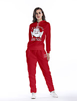 Women's Daily Holiday Sexy Street chic Winter Fall Hoodie Pant Suits,Letter Hooded Long Sleeves Polyester