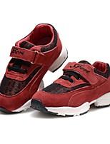 Недорогие -Девочки обувь Кожа Зима Удобная обувь На плокой подошве На липучках для Повседневные Красный Синий