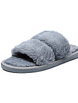Women's Shoes PU Winter Comfort Slippers & Flip-Flops Pointed Toe For Casual Black Gray Red Pink