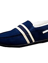 Men's Shoes Fleece Fall Winter Moccasin Loafers & Slip-Ons For Outdoor Blue Red Black