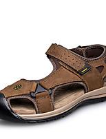 Для мужчин обувь Натуральная кожа Наппа Leather Кожа Лето Удобная обувь Сандалии Назначение Повседневные Черный Коричневый