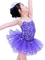 Kids' Dancewear Dresses Children's Performance Spandex Elastic Organza Sequined Paillette Sleeveless Natural Dresses Headpieces