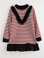 cheap -Girl's Striped Dress,Cotton Long Sleeves Casual Wine
