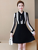 Women's Going out Plus Size Street chic Sheath Dress,Patchwork Shirt Collar Above Knee Long Sleeves Polyester Spandex Mid Rise