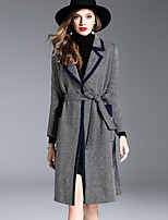 Women's Daily Going out Simple Casual Street chic Sophisticated Winter Fall Coat,Striped Houndstooth Regular Polyester