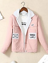 Women's Daily Going out Simple Casual Spring Fall Denim Jacket,Print Regular Others