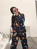 Satin & Soie Pyjamas Femme,Imprimé Fleurs Polyester Bleu Rose Claire