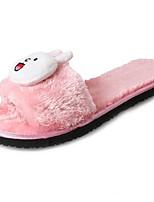 Для женщин Обувь Флис Зима Удобная обувь Тапочки и Шлепанцы Назначение Черный Серый Красный Розовый