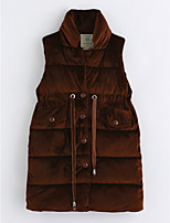 cheap -Girls' Solid Vest,Cotton Sleeveless Brown