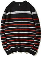 Men's Daily Regular Pullover,Striped Round Neck Long Sleeves Nylon Winter Fall Medium strenchy