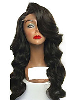 cheap -Women Human Hair Lace Wig Brazilian Human Hair Glueless Lace Front 150% Density With Baby Hair Body Wave Wig Black Short Medium Length