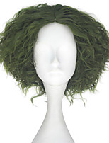 cheap -Men Adult Short Kinky Curly Hair Unisex Green Color Wig Movie Role Play Hair Cosplay Wigs Halloween