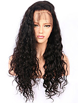 cheap -Women Human Hair Lace Wig Chinese Remy Lace Front Glueless Lace Front 130% Density With Baby Hair Water Wave Wig Black Black Medium