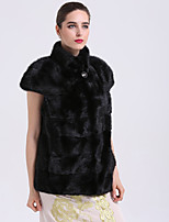 BF-Fur Style Women's Going out Simple Winter Fur Coat,Solid V Neck Short Sleeves Short Fox Fur