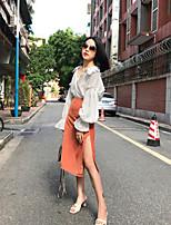 abordables -Mujer Chic de Calle Casual/Diario Camisa,Escote en Pico Un Color Manga Larga Algodón