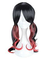 cheap -Women Synthetic Wig Capless Medium Length Long Black/Red Highlighted/Balayage Hair With Bangs Halloween Wig Cosplay Wig Costume Wig