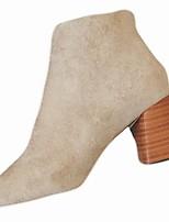 abordables -Mujer Zapatos Goma Invierno Botas de Combate Botas Dedo Puntiagudo Para Negro Beige Rojo