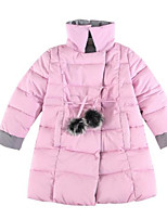 cheap -Girls' Solid Down & Cotton Padded Black Blushing Pink