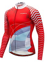 Cycling Jersey with Tights Men's Long Sleeve Bike Jersey Thermal / Warm Winter Sports Polyester Spandex Fleece Patterns Fashion Winter