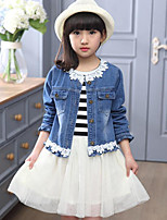 Girls' Striped Floral Patchwork Sets,Cotton Polyester Spring Fall Long Sleeves Clothing Set