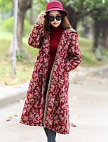 Women's Going out Casual/Daily Simple Fall Winter Trench Coat,Floral Print Shirt Collar Long Sleeves Long Cotton Rayon Polyester