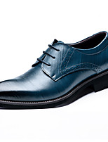 Men's Shoes Nappa Leather Fall Winter Formal Shoes Oxfords For Casual Party & Evening Blue Brown Black
