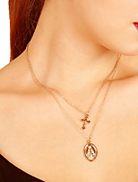 Women's Pendant Necklaces Cross Alloy Simple Vintage Multi Layer Fashion Jewelry For Daily Street