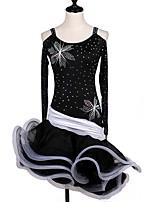 Latin Dance Women's Performance Spandex Organza Georgette Crystals/Rhinestones Long Sleeve High Dress