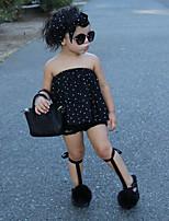 cheap -Girls' Polka Dot Clothing Set,Cotton Spring Summer Sleeveless Cute Active Street chic Black
