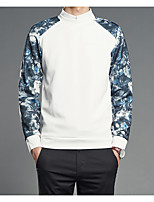 Men's Daily Sweatshirt Print Color Block Polyester