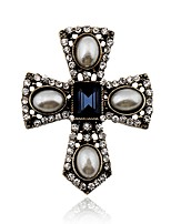 Men's Women's Brooches Rhinestone Simple Elegant Rhinestone Alloy Cross Jewelry For Daily Casual