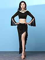 cheap -Shall We Belly Dance Outfits Women's Training Nylon Side Draping Split Long Sleeve Dropped Skirts Tops