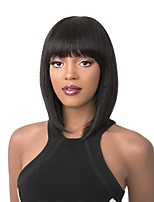 Women Synthetic Wig Capless Medium Length Straight Red Brown Chestnut Brown Dark Black Light golden Bob Haircut With Bangs Celebrity Wig