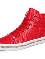 baratos -Masculino sapatos Borracha Primavera Outono Conforto Tênis Caminhada Botas Curtas / Ankle Vazados Para Branco Preto Vermelho