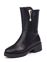 cheap -Women's Shoes PU Fall Winter Fashion Boots Boots Round Toe Mid-Calf Boots Rhinestone For Casual Black