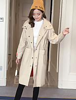 Women's Going out Casual/Daily Simple Fall Trench Coat,Solid Shirt Collar Long Sleeves Long Cotton Acrylic
