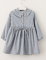Girl's Daily Going out Polka Dot Dress,Cotton Fall Long Sleeves Casual Blue Blushing Pink Yellow