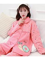 cheap -Women's Babydoll & Slips Pajamas,Print Floral Polyester Blushing Pink Red