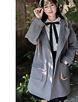 Women's Daily Simple Casual Fall Trench Coat,Solid Long Sleeves Long Polyester
