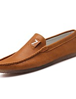 Men's Shoes PU All Season Moccasin Comfort Light Soles Loafers & Slip-Ons For Casual Dark Grey Brown Black