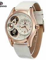 FORSINING Women's Fashion Watch Dress Watch Wrist watch Automatic self-winding Hollow Engraving Compass Leather Band Vintage Casual White