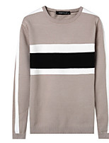 Men's Going out To-Go Vintage Regular Pullover,Color Block Round Neck Long Sleeves Rayon Fall Thick Micro-elastic