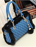 Women Bags Fur Tote Zipper for Casual All Seasons Blue Red