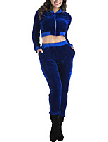 Women's Daily Casual Winter Fall Hoodie Pant Suits,Solid Hooded Long Sleeves Polyester Taffeta