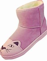 preiswerte -Damen Schuhe Kaschmir Winter Springerstiefel Stiefel Flacher Absatz Runde Zehe Mittelhohe Stiefel Tierdruck Für Normal Schwarz Grau Rosa