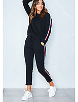 Women's Sports Casual Winter Hoodie Pant Suits,Solid Round Neck Long Sleeve Stripe Cotton Polyester Micro-elastic