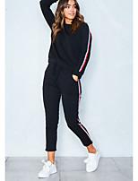 Sweat à capuche Pantalon Costumes Femme,Couleur Pleine Sports simple Hiver Manches longues Col Arrondi Bandes Coton Polyester