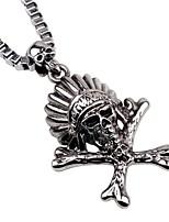cheap -Men's Skull Hiphop Gothic Pendant Necklace Chain Necklace , Alloy Pendant Necklace Chain Necklace , Carnival Bar