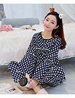 Nuisette & Culottes Pyjamas Femme,Imprimé Pois Polyester Bleu