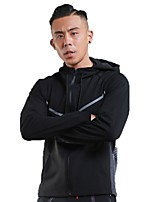 Men's Running Jacket Long Sleeves Thermal / Warm Breathable Hoodie for Running/Jogging Fitness Polyster Black Rough Black S M L XL XXL